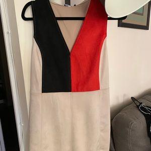 Zara red black tan suede dress small NWT